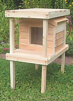 Small Insulated Cedar Cat House w/ Lower & Raised Lounging Decks
