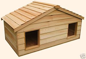 Large Duplex Insulated Cedar Cat House - Smaill Dog House