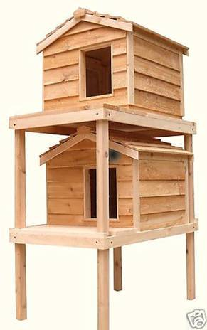 Large Double Decker Insulated Cedar Cat House w/ Lounging Decks