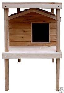 Large Insulated Cedar Cat House w/ Lower & Raised Lounging Decks